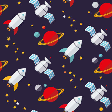 satellite in space: Flat design seamless space objects pattern vector Illustration