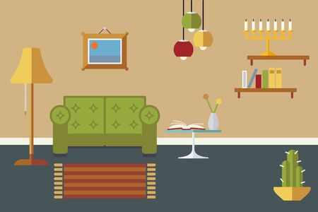 living room design: Retro styled flat design living room interior vector illustration