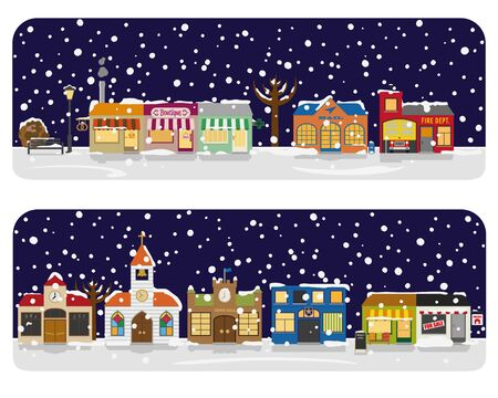 Small town Main Street with winter stores, church and public buildings in winter. All objects are grouped, text on separate layer.
