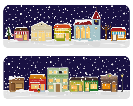 urbane: Small town Main Street with shops winter, church, bar and public buildings. All objects are grouped, text and snow on separate layer.