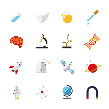 flat design science and research themed vector icons collection 向量圖像