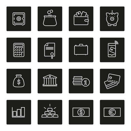 paper currency: Set of 16 money and finance related line icons in black squares