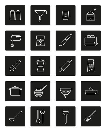 Set of 20 kitchen and cooking related line icons in black rounded squares