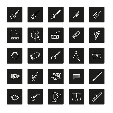 rounded squares: Collection of 25 musical instruments line icons in colored rounded squares