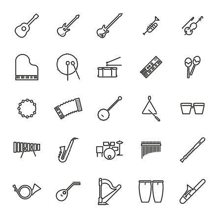 bongos: Collection of 25 black musical instruments line icons