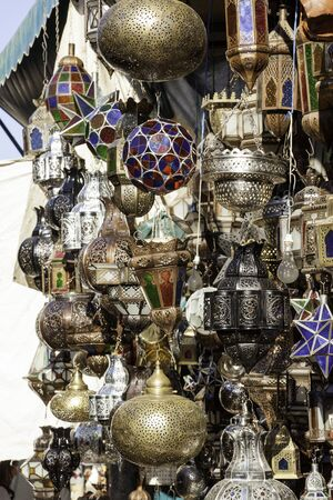 lampshades: Traditionally crafted ornate moroccan lampshades at Marrakesh market stand