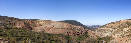 berber: Panoramic view of Atlas Mountain range with berber village Stock Photo