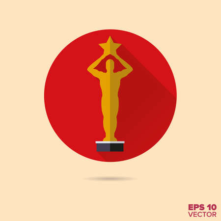 awards: golden movie award flat design vector icon Illustration