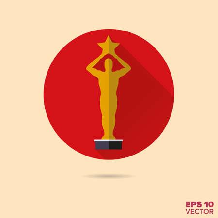 award: golden movie award flat design vector icon Illustration