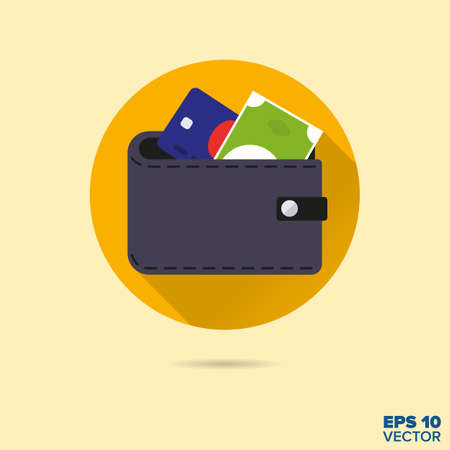 bank note: wallet with bank note and credit card flat design vector icon