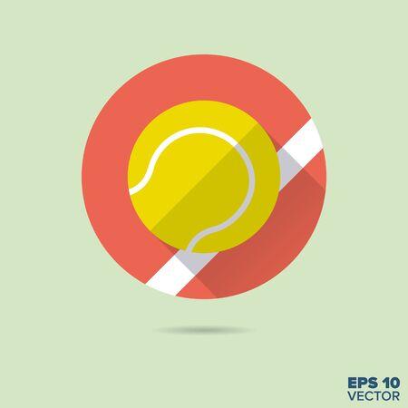 individual sports: tennis ball flat design vector icon