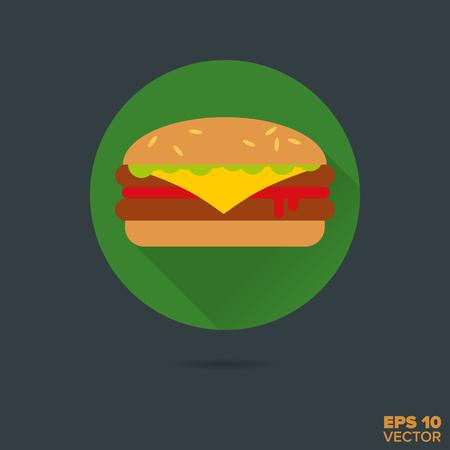 binge: fast food cheeseburger flat design vector icon Illustration