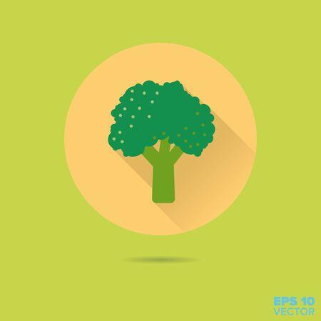 floret: broccoli floret flat design vector icon Illustration