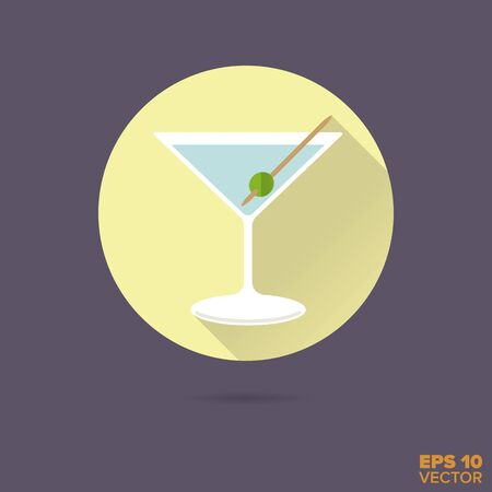 dry: dry martini cocktail flat design vector icon