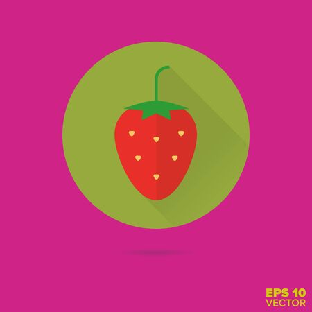 strawberry fruit ball flat design vector icon Ilustrace