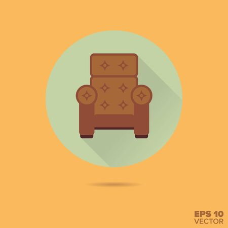 armchair: upholstered armchair flat design vector icon