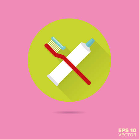 Toothbrush and toothpaste tube crossed  flat design vector icon