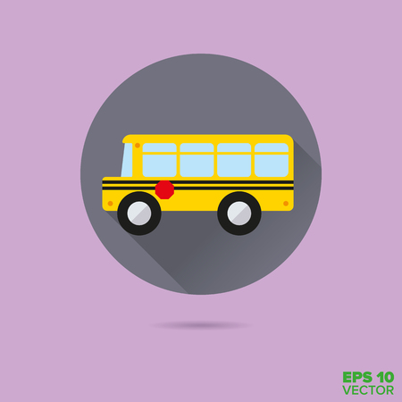 school board: yellow school bus flat design vector icon