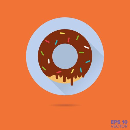 sprinkles: Chocolate donut with sprinkles flat design vector icon Illustration