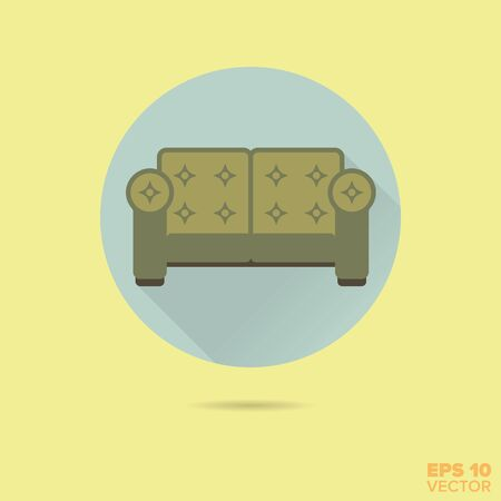 upholstered: upholstered couch flat design vector icon