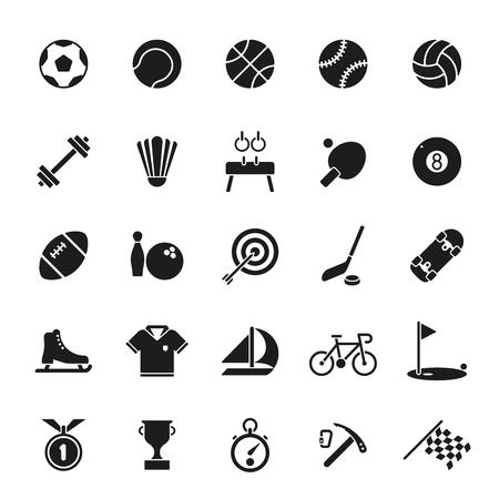 gymnastik: Sammlung von 25 solid black Sport und Gymnastik Symbole auf weißem Hintergrund Illustration
