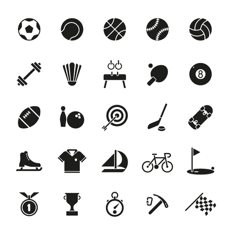 Collection of 25 solid black sports and gymnastics icons on white background