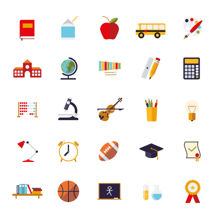 school sport: Set of 25 education, school, college and university related flat design icons on white background
