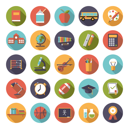 music book: Set of 25 education, school, college and university related icons in circles, flat design, long shadow