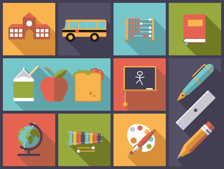 range fruit: Horizontal flat design illustration with elementary school and basic education icons