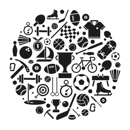 soccer: variety of sports equipment symbols arranged in circular shape