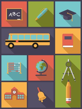 school class: Vertical flat design illustration with education icons