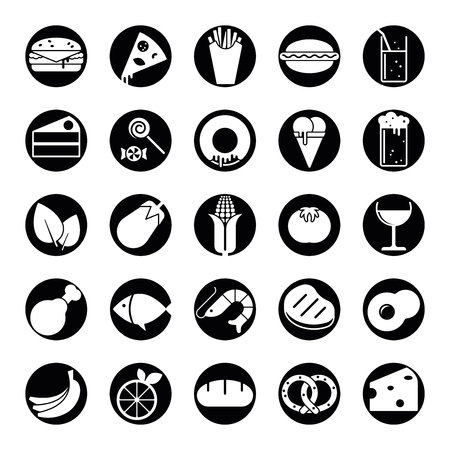 solid food: Collection of 25 solid food and drink icons in circles