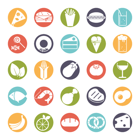 solid food: Collection of 25 solid food and drink icons in colored circles Illustration