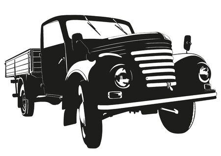 pickup: Silhouette Illustration of vintage pickup truck