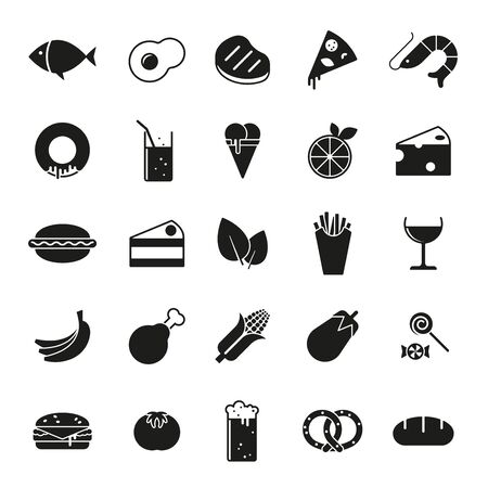 solid food: Collection of 25 solid food and drink icons Illustration