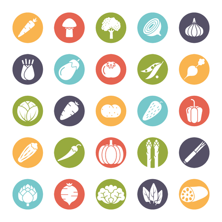 gherkin: Collection of vegetable icons, negative in colored circles Illustration