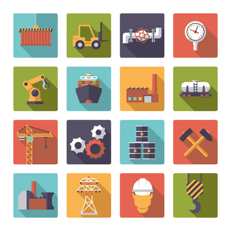 mining ships: Collection of 16 flat design industry themed icons in rounded squares Illustration