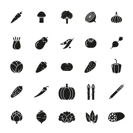 beet root: Collection of solid black vegetable icons Illustration