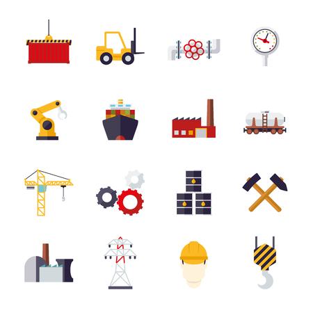 mining ship: Collection of 16 flat design industry themed icons
