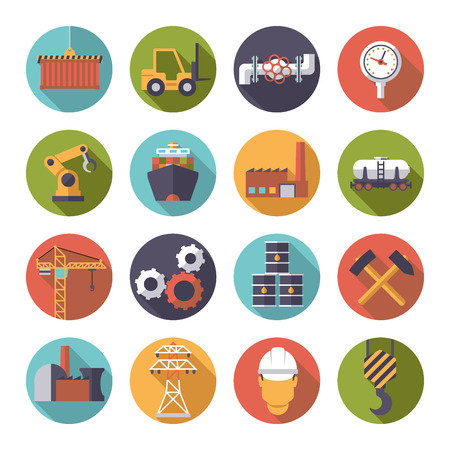 Collection of 16 flat design industry themed icons in circles Ilustração