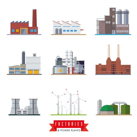 biomasa: Conjunto de fábrica de diseño plano y los iconos de la central eléctrica Vectores