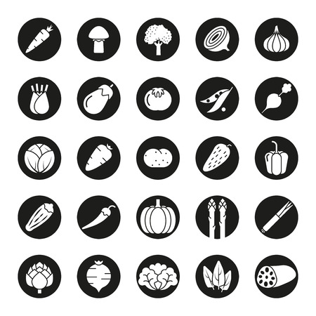 Collection of vegetable icons, negative in black circles Ilustracja