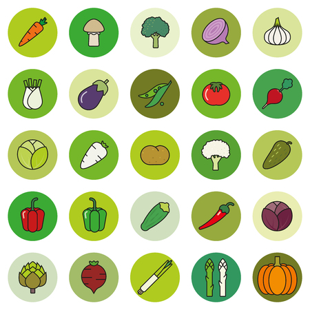 beet root: Collection of vegetables filled outline icons in green shaded circles