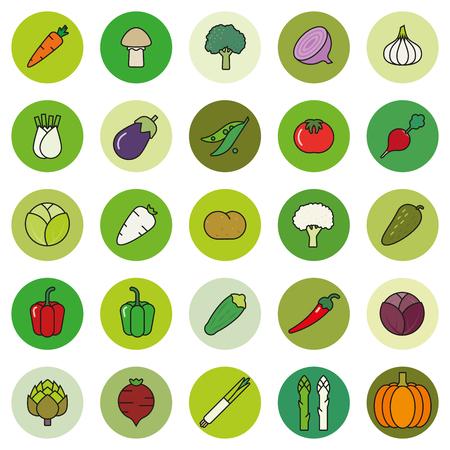 Sammlung von Gemüse gefüllt Umriss-Symbole in grün schattierten Kreise Vektorgrafik