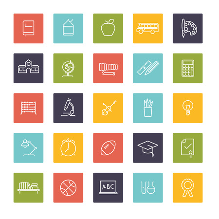 college building: Set of 25 icons in colored squares Education Line