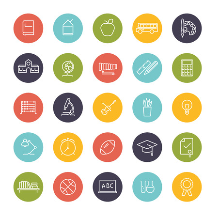 school sport: Set of 25 education, school, college and university line icons in colored circles Illustration
