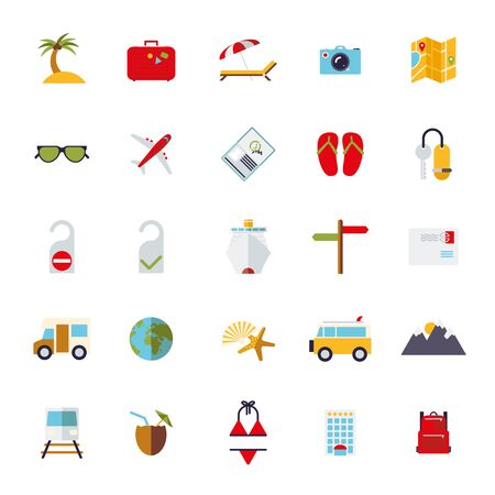 Collection of flat design travel and vacation icons