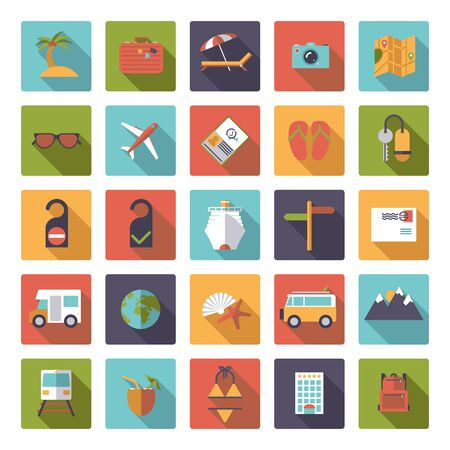 rounded squares: Collection of flat design travel and vacation icons in rounded squares Illustration