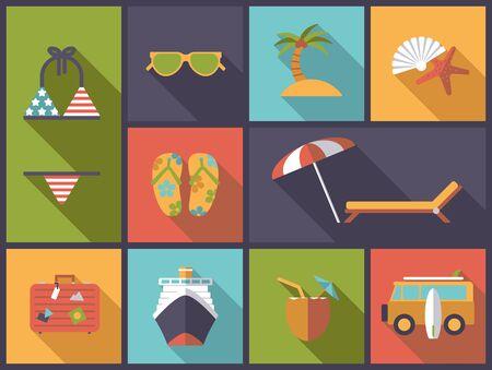 Horizontalen flachen Design, Illustration mit Sommerferien und Urlaub Symbole