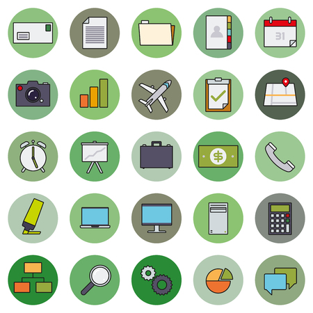 filling folder: Business and office icons in circles